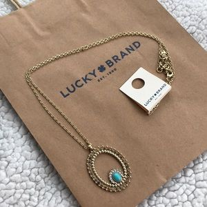 NWT Lucky Brand Long Necklace with oval pendant